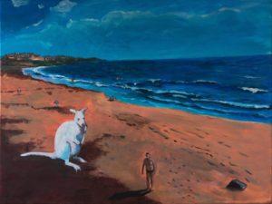 Das Wallaby am Strand