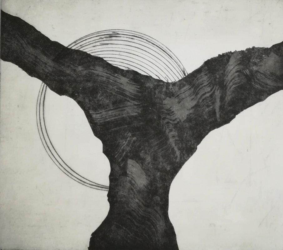 Kraft | Aquatinta, Kaltnadel auf Bütten | 30 x 30 cm | 2020