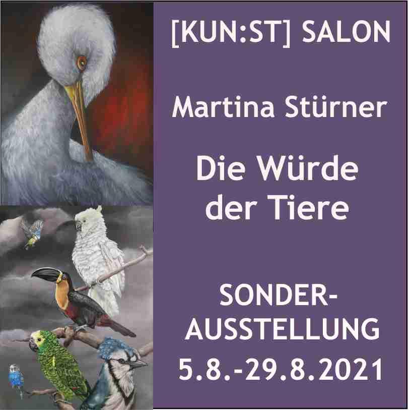 """Das Thema der Ausstellung von Martina Stürner ist angelehnt an ein Zitat von Albert Schweitzer: Wer die Würde der Tiere missachtet, kann diese ihnen nicht nehmen, aber er verliert seine eigene""""."""