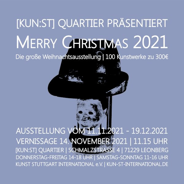 Es ist kaum zu glauben, aber in 2021 findet dieses besondere Ausstellungsformat einer Weihnachtsausstellung bereits zum achten Mal in Folge statt. Unsere Künstlerinnen und Künstler präsentieren in einer Weihnachtsausstellung ihre Kunstwerke, von denen jedes als Weihnachtsgeschenk für nur 300 € pro Kunstwerk verkauft wird ...